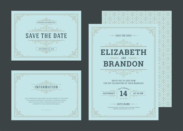 Establecer invitaciones de boda florece adornos tarjetas