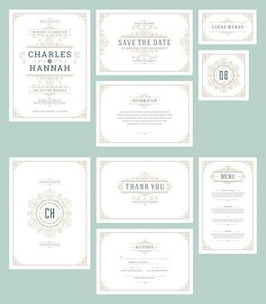 Establecer invitaciones de boda tarjetas adornos florece.