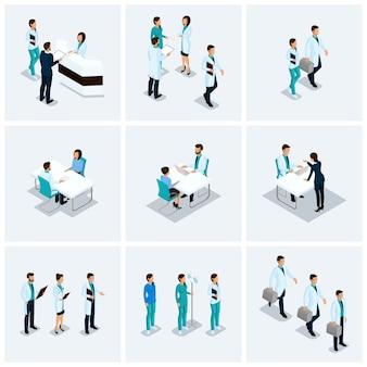Establecer isométricos proveedores de atención médica, cirujanos, enfermeras, kits de médicos concepto de hospital 3d aislado sobre un fondo claro