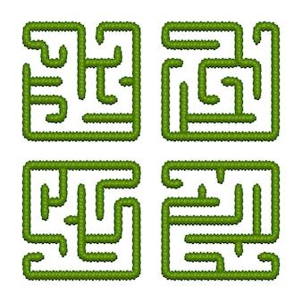 Establecer juegos de lógica educativa laberintos de arbustos para niños. encuentra el camino correcto. laberintos cuadrados simples aislados sobre fondo blanco.