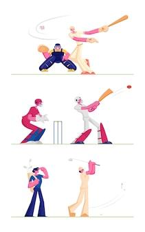 Establecer jugadores de béisbol y golf aislado sobre fondo blanco. ilustración plana de dibujos animados