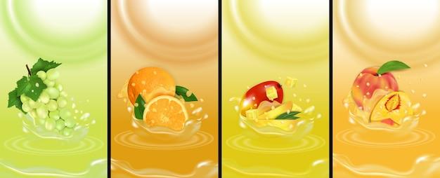 Establecer jugo splash frutas frescas