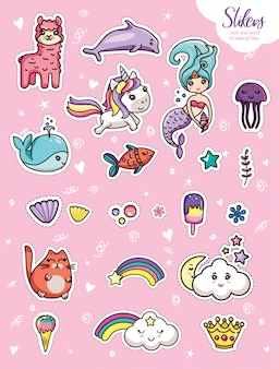 Establecer kawaii cartoon lettering girlish card template