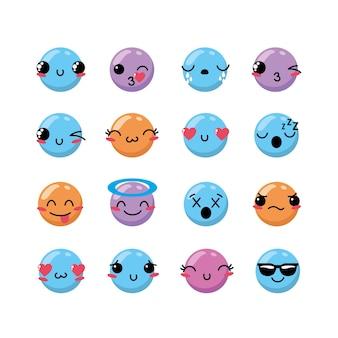 Establecer kawaii emoji emoción diseño icono