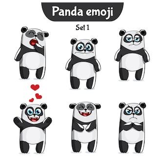 Establecer kit colección pegatina emoji emoticon emoción vector ilustración aislada carácter feliz panda dulce, lindo
