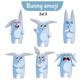 Establecer kit colección pegatina emoji emoticon emoción vector ilustración aislada personaje feliz dulce, lindo conejo blanco, conejito, liebre.
