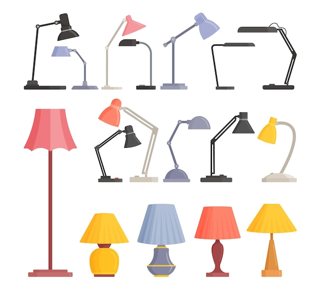 Establecer lámparas de trabajo de mesa y piso, bombillas de escritorio de metal de colores de diseño moderno aislado sobre fondo blanco. suministros eléctricos torchere para decoración del hogar e iluminación de habitaciones. ilustración vectorial de dibujos animados
