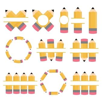 Establecer lápices monograma dividido aislado en un fondo blanco espacio para texto regreso a la escuela