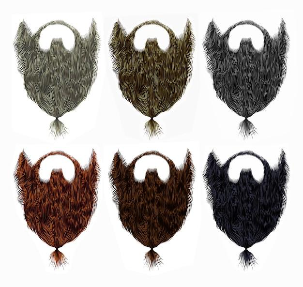 Establecer larga barba bigote rizado con cola. diferentes colores. estilo de belleza. 3d realista.