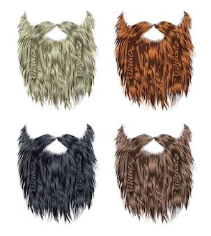 Establecer larga barba rizada y bigote de diferentes colores.