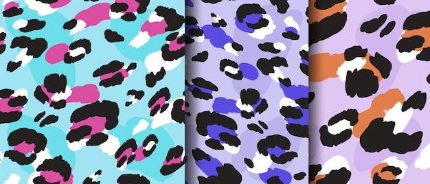Establecer leopardo dibujo de patrones sin fisuras