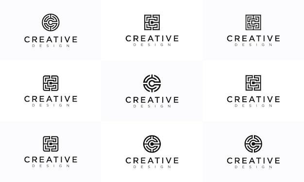 Establecer la letra c las colecciones de diseños de logotipos laberinto.