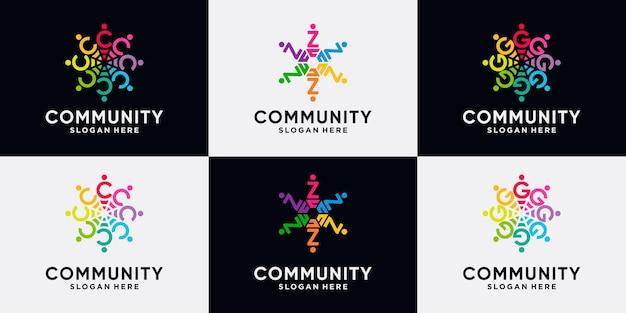 Establecer la letra inicial c, z, g del diseño del logotipo de la comunidad del paquete con el concepto creativo.