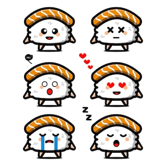 Establecer lindo personaje de dibujos animados de sushi con expresión