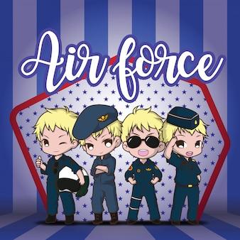 Establecer lindo piloto de la fuerza aérea de dibujos animados