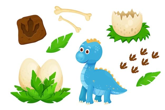 Establecer lindos dinosaurios bebé con huella de huevo de dinosaurio, hojas y huesos jurásicos en dibujos animados