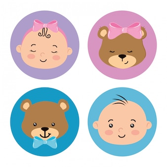 Establecer lindos elementos de baby shower