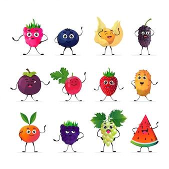 Establecer lindos personajes jugosos frescos sabrosos frutos maduros colección de personajes de mascota aislado sobre fondo blanco concepto de comida saludable