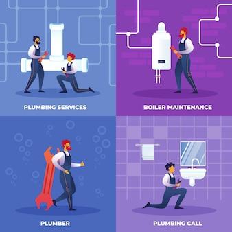 Establecer llamada de servicios de fontanería, mantenimiento de calderas.