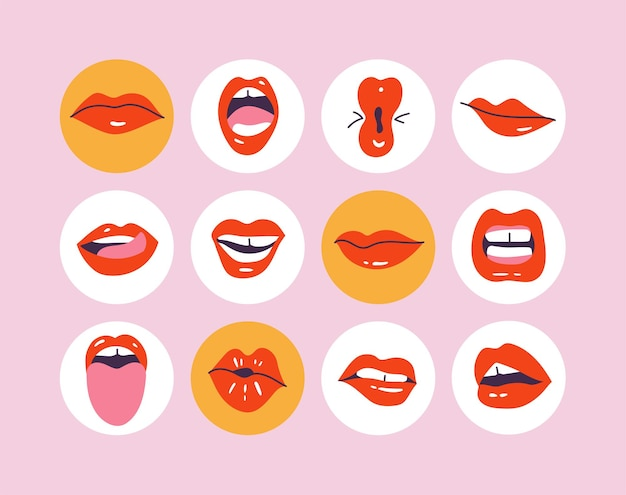 Establecer lo más destacado de la historia de las redes sociales diferentes labios o bocas con diversas expresiones, emociones y mímica.