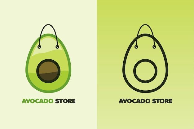 Establecer logo aguacate tienda color y arte lineal