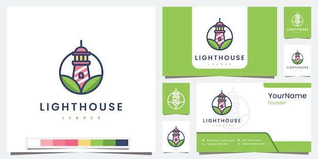 Establecer logo faro hojas naturales con inspiración de diseño de logotipo de versión en color