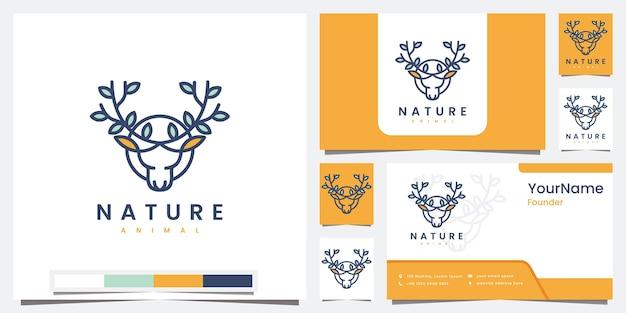 Establecer logo naturaleza animal con logo de concepto de arte lineal