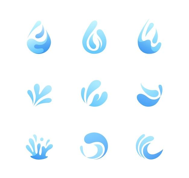 Establecer logotipo de agua. pack de nueve agua con formas abstractas.