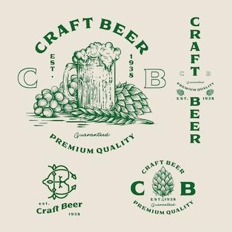 Establecer logotipo de cerveza - ilustración, diseño de emblema cervecería.