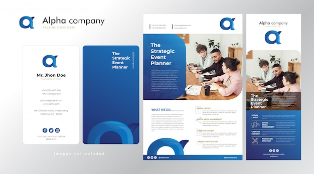 Establecer logotipo corporativo, tarjeta de visita, folleto y plantilla de banner en azul brillante