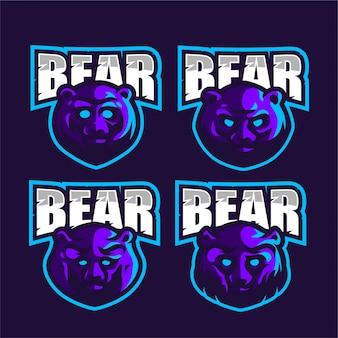 Establecer logotipo de e-sports de oso púrpura