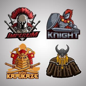 Establecer el logotipo de la mascota de la ilustración de la colección completa con estilo de dibujos animados y texto. vector