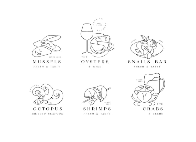 Establecer logotipos e iconos de plantilla para productos del mar