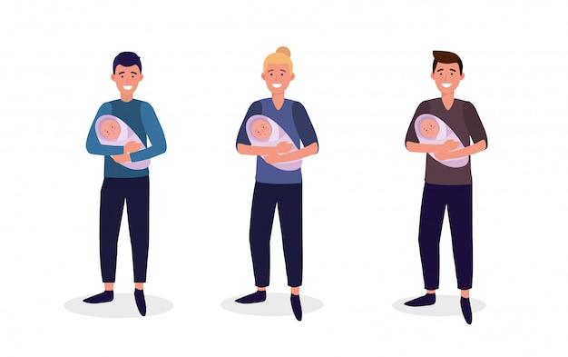 Establecer madre de los hombres con sus hijos hijo