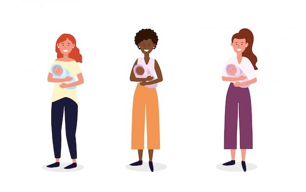 Establecer la madre de la mujer con su hijo bebés