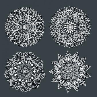 Establecer mandala ornamental para decoración