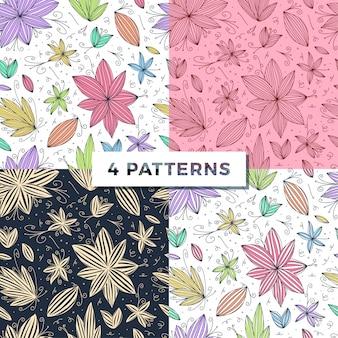 Establecer mano dibujar patrón de doodle inconsútil con línea de flores