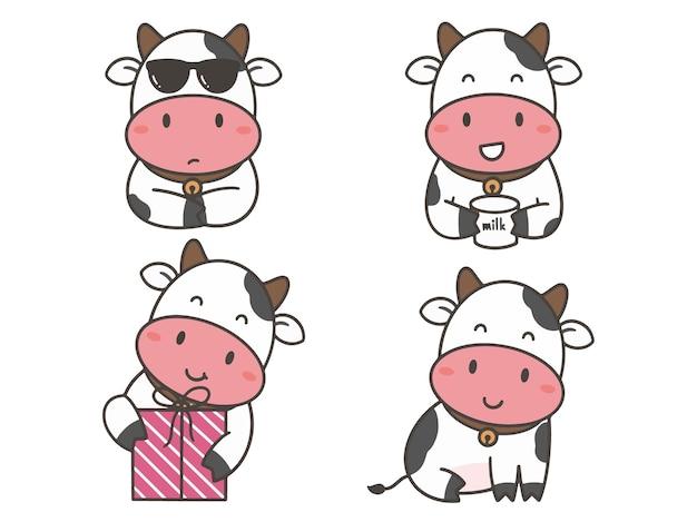 Establecer mano dibujar vaca linda
