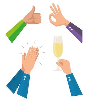 Establecer las manos de los hombres con copa de champán