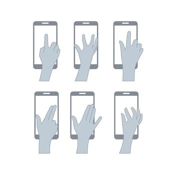 Establecer manos usuario pantalla táctil
