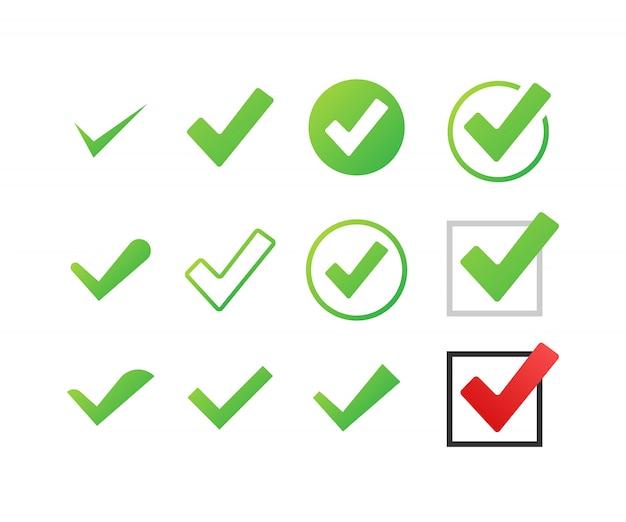Establecer marcas de verificación o marcas. símbolo de marca, marca de verificación grunge. ilustración.