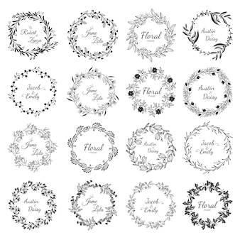 Establecer marco marco floral invitación