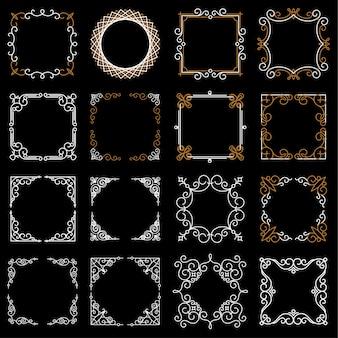 Establecer marcos decorativos vintage en estilo de línea mono