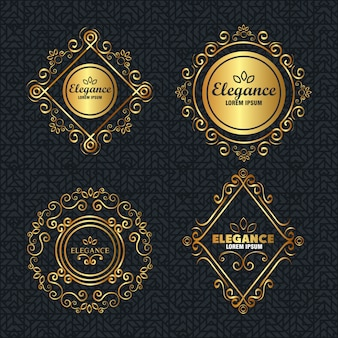 Establecer marcos dorados estilo elegancia