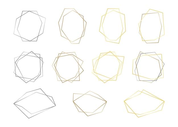 Establecer marcos geométricos de oro, plata y bronce, línea de color, plantilla decorativa de invitación de borde.