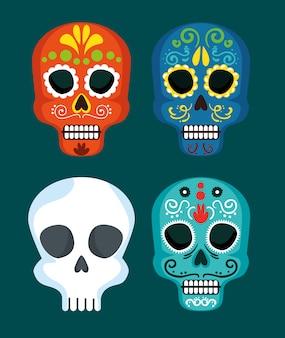 Establecer máscaras de calavera para el día de méxico del evento de los muertos