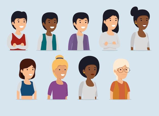 Establecer mensaje de colaboración de mujeres y hombres