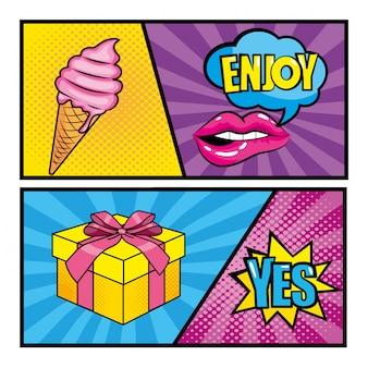 Establecer mensajes de arte pop con helado y regalo.