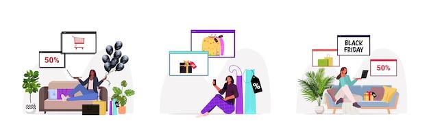 Establecer mezcla de mujeres de raza eligiendo y comprando productos compras en línea viernes negro gran venta descuentos de vacaciones concepto de longitud completa horizontal ilustración vectorial