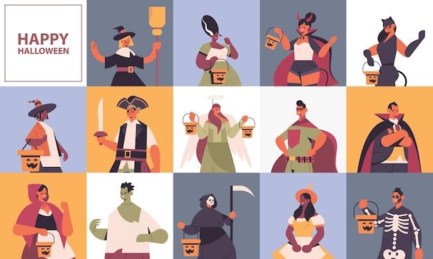 Establecer mezcla personas de raza en diferentes disfraces concepto de celebración de fiesta de halloween feliz lindo hombres mujeres colección de avatares espacio de copia retrato plano ilustración vectorial horizontal